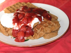 Strawberry Sauce on Teff Waffles