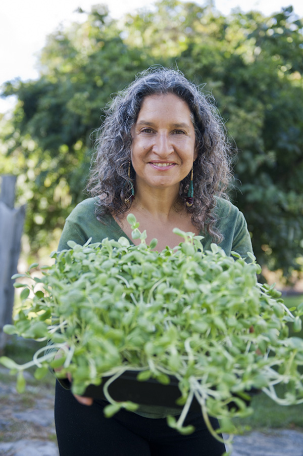 Leslie Cerier with Sunflower Sprouts