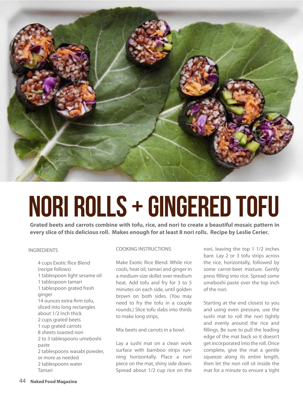 Exotic rice blendleslie cerier leslie cerier nori rolls ginger tofu reprinted from gluten free recipes for the conscious cook forumfinder Image collections