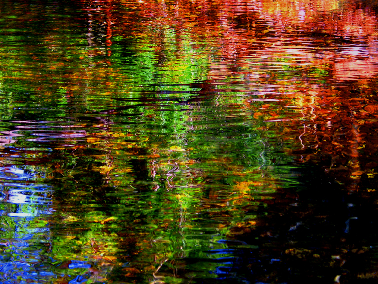 Water Visions, impressionistic nature photograph shot at the Quabbin