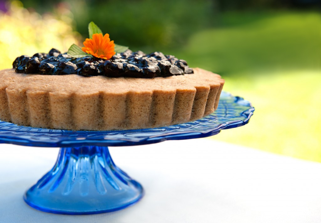Easy Blueberry Sauce on top of Super Coconut Lemon Cake