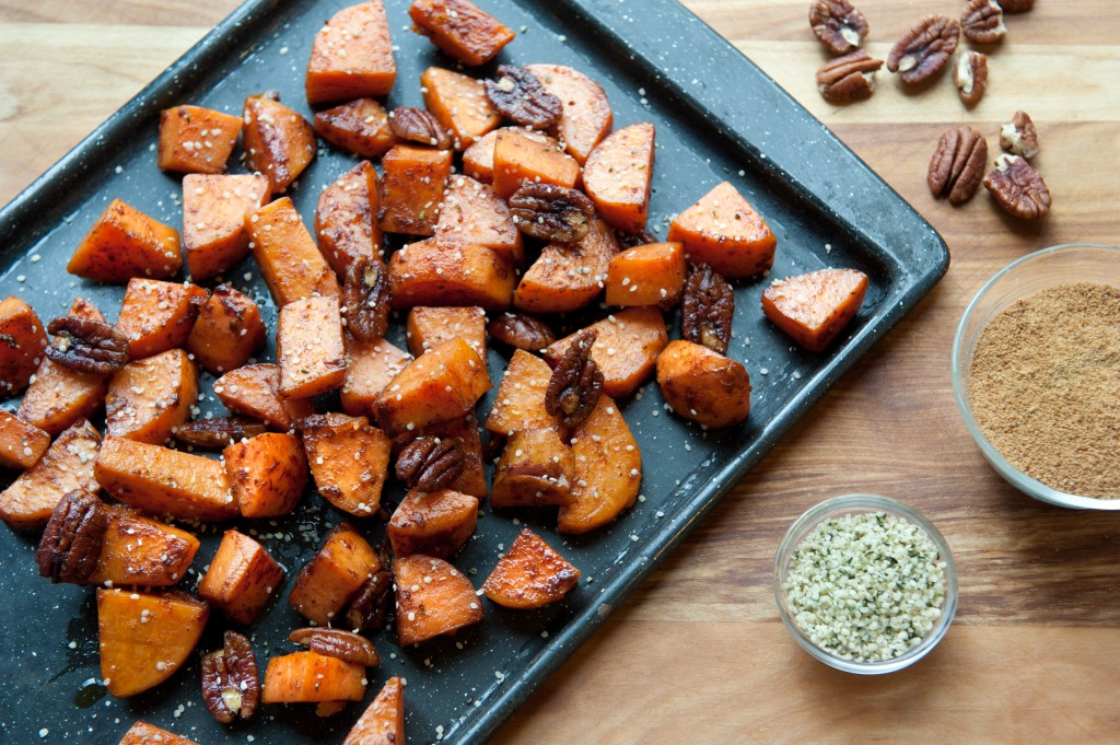 Roasted Sweet Potatoes/Yams with Pecans with Hemp Seeds