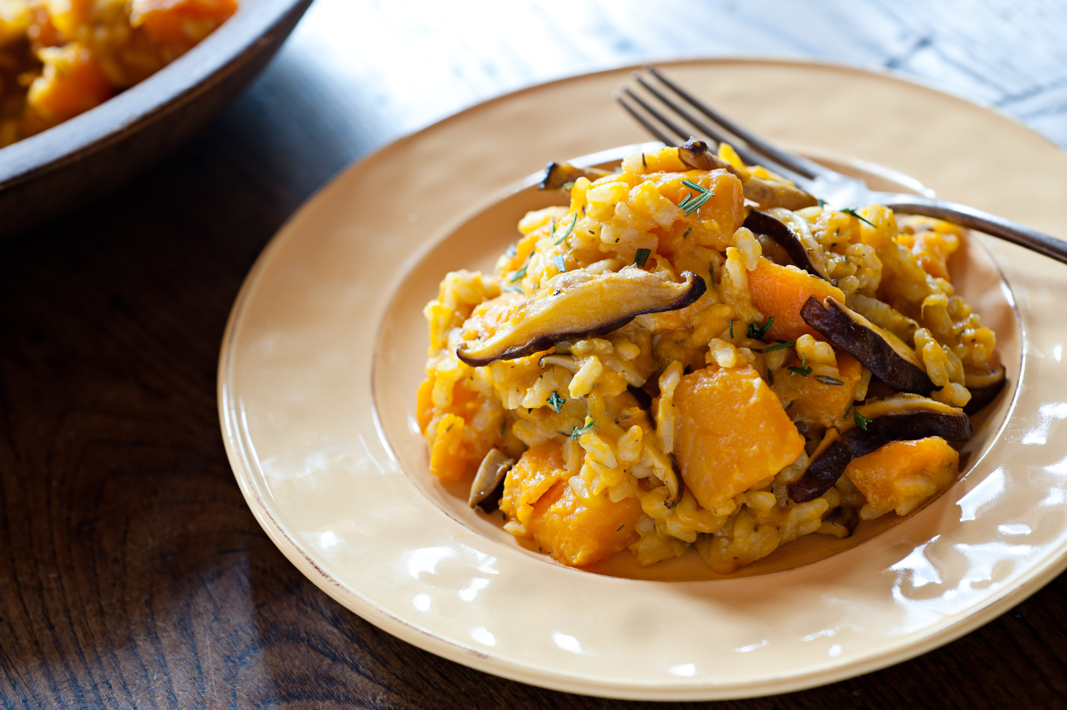 Shiitake Mushroom Risotto with Saffron and Butternut Squash