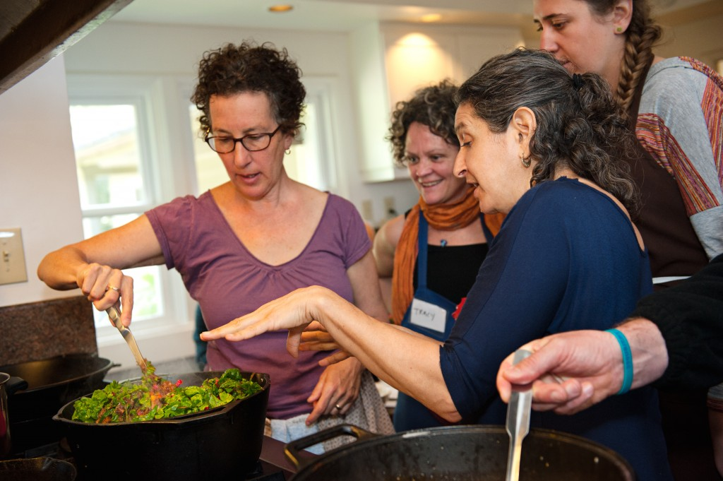 Leslie teaching cooking at Esalen