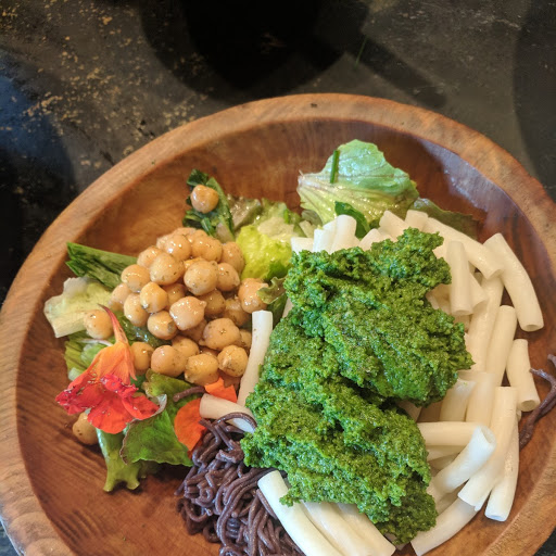 Kale Pesto with forbidden black rice ramen, quinoa pasta, garden fresh salad and herbs