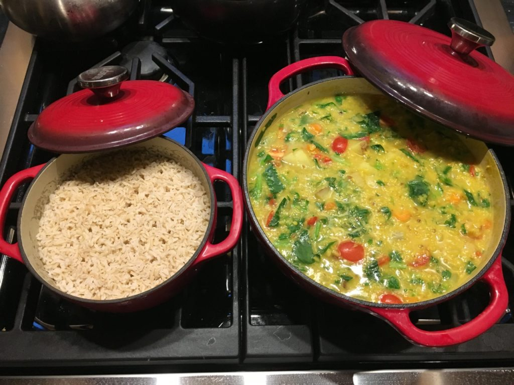 Organic lentil vegetable soup with rice