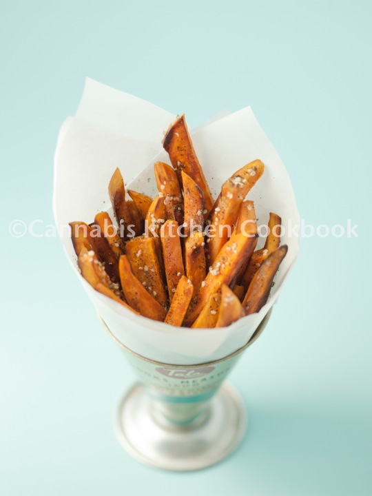Cannabis Sweet Potato Fries With Hemp Seeds And Kelp Flakes