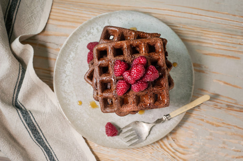 Chocolate Chocolate Chip Waffles with Teff