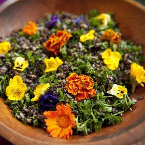 Lemony Quinoa Salad with Edible Flowers