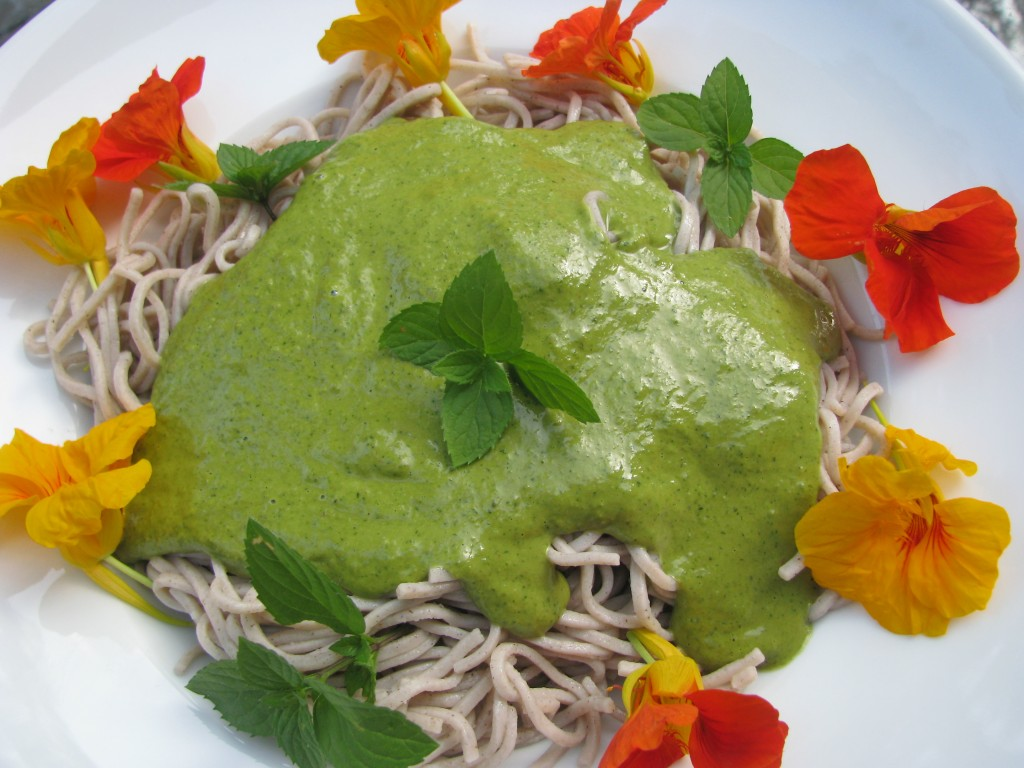Thai Peanut Sauce over Soba Noodles with Edible Flowers