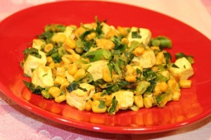 Scrambled Tofu with Sweet Corn and Collard Greens