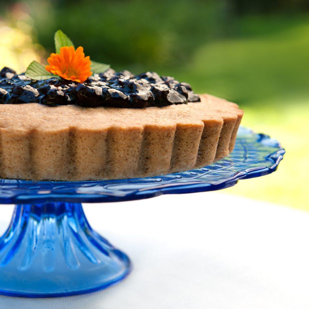 Easy Blueberry Sauce on top of Super Coconut Lemon Cake