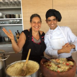 Emilano and Leslie cooking Quinoa for lunch in Chile