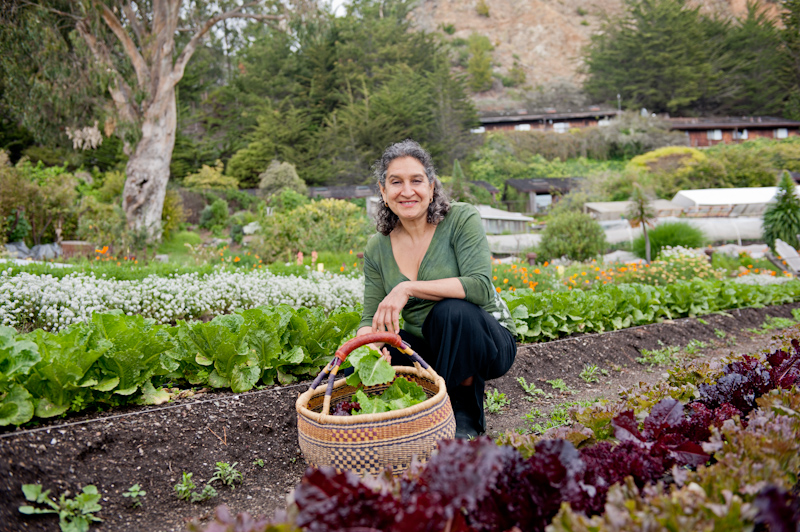 Leslie Cerier in the Esalen Organic Garden picking lettuce