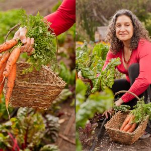 Double image of carrots and Leslie with carrots