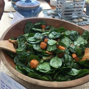 Organic Spinach salad with dressing Leslie Cerier taught in her hands on cooking workshop