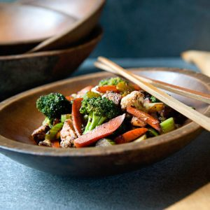 Stir fry vegetables with maple syrup
