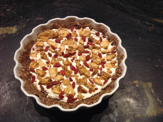 Leslie's amazing chevre cheesecake with dried pineapple and goji berries