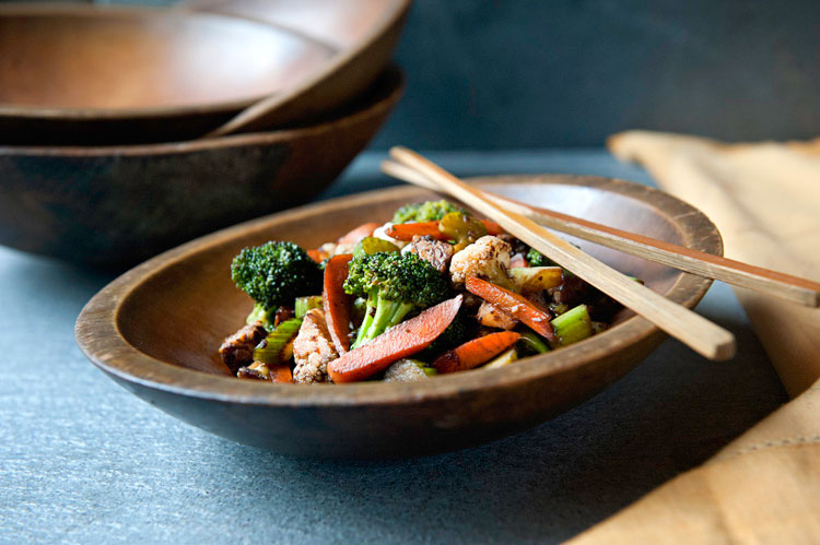 Maple Teriyaki Stir Fry Tempeh and Vegetables recipe by Leslie Cerier for Coombs Family Farm