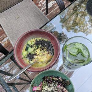 Coconut Curry Vegetable Lentil Soup, Arame Asian Slaw