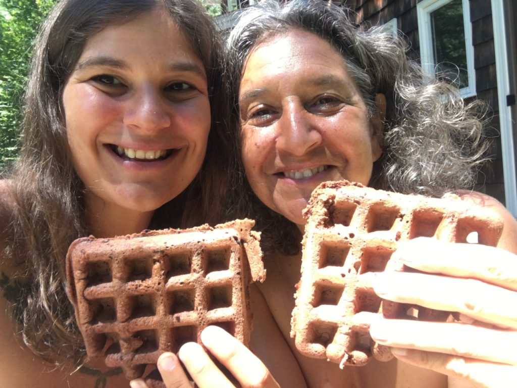 Eating Chocolatte Waffles with Emily