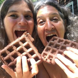 Eating Chocolate Chip Waffles with Emily