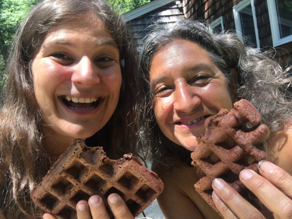 Eating Chcolate Chocolate Waffles with Emily