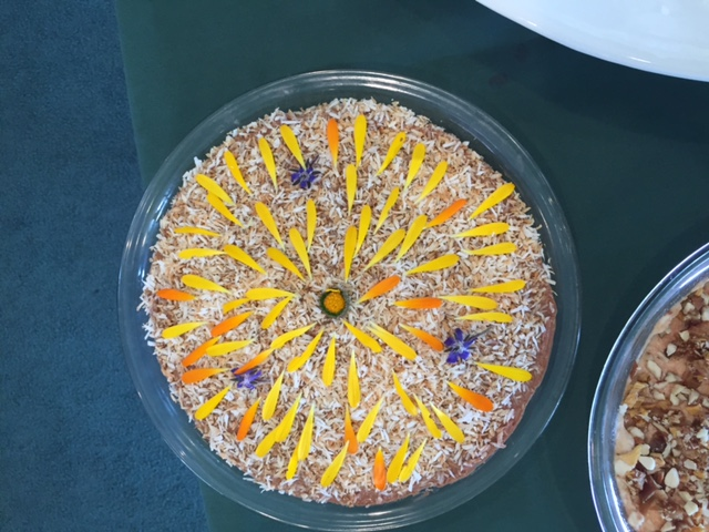 Chevre pie with edible calendula flowers