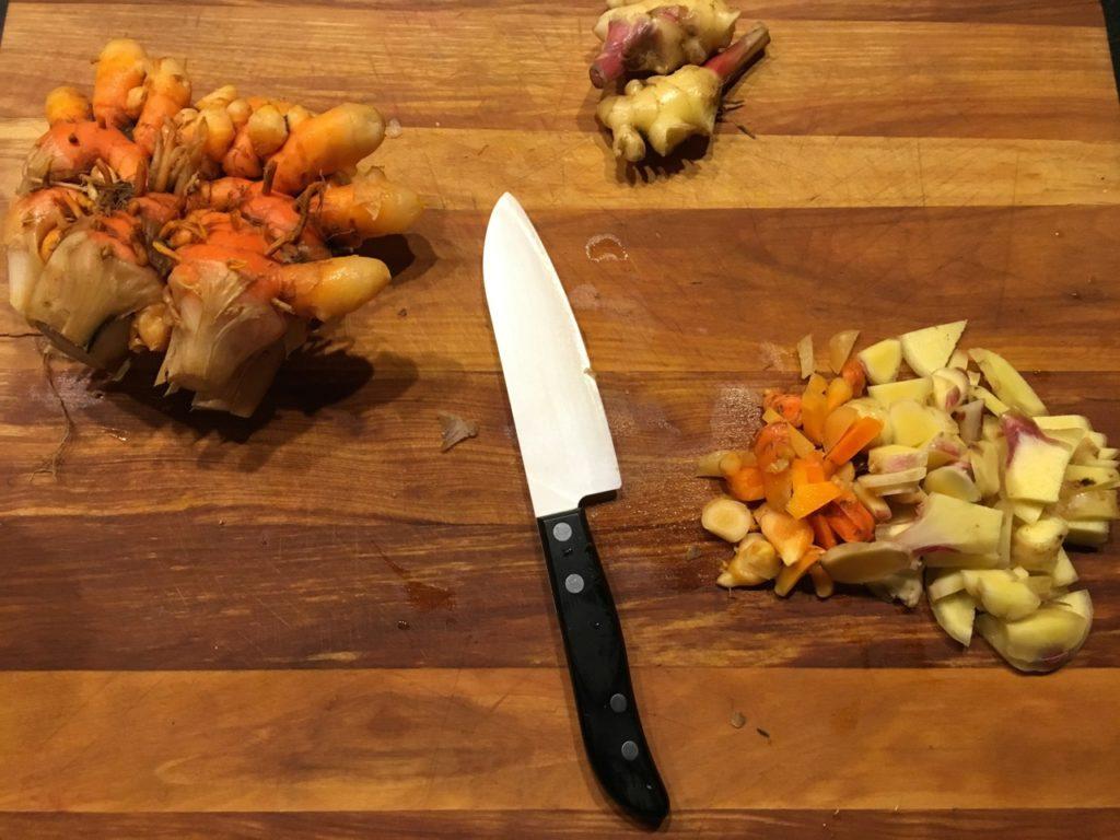 chopped fresh organic tumeric and ginger