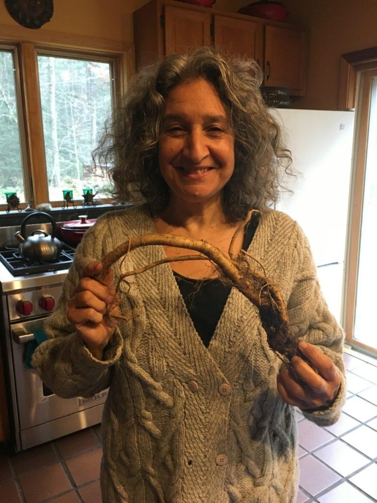 Leslie Holding Her Garden Fresh Horseradish Root