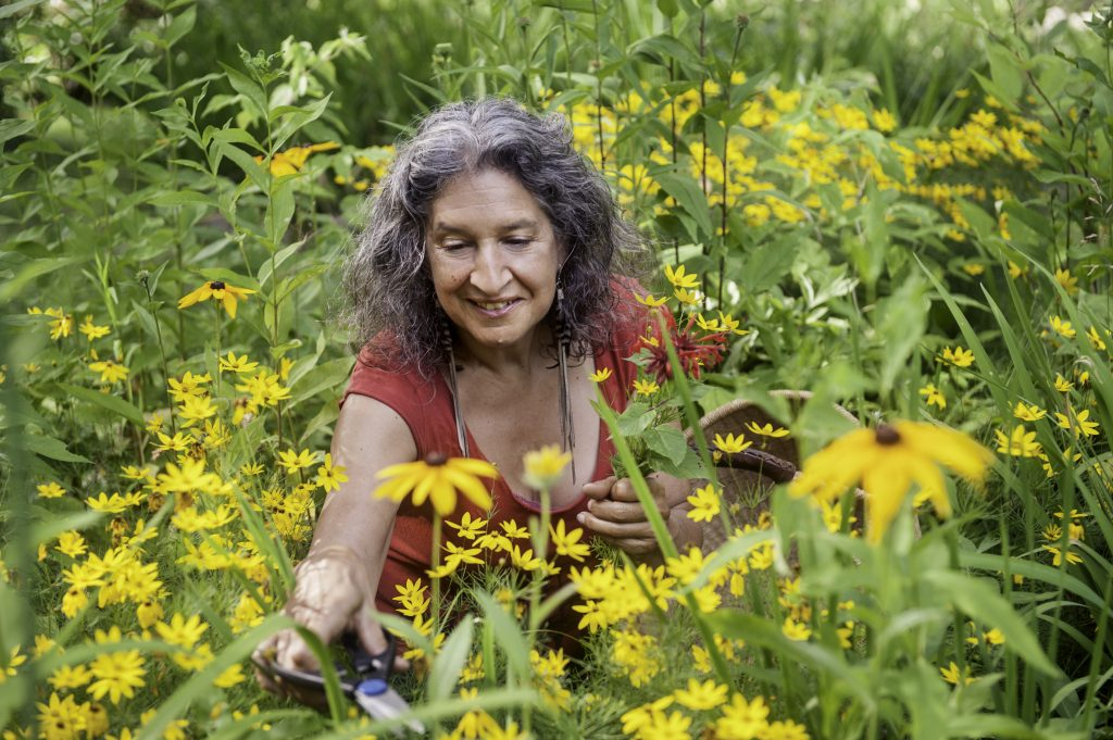 Leslie Cerier in her organic flower garden, summer time