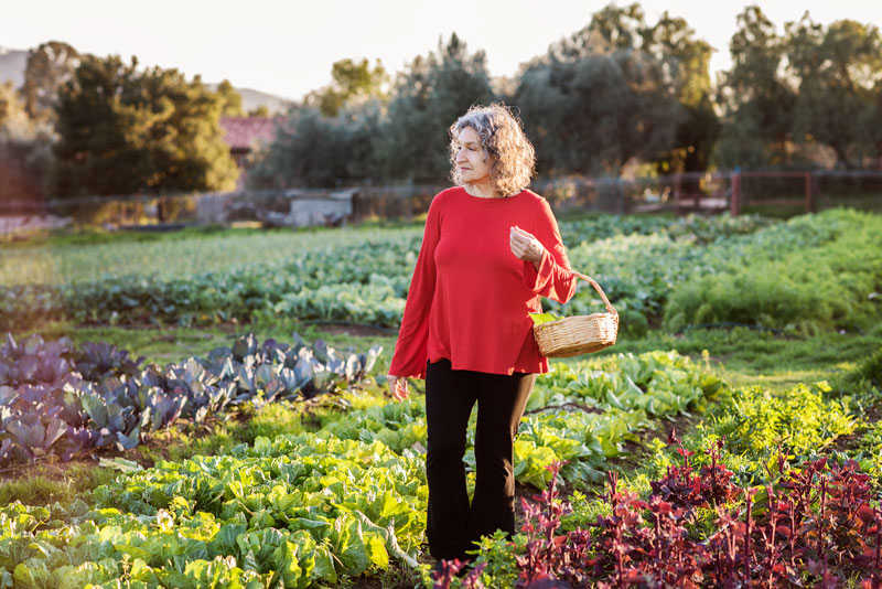 Leslie Cerier in the organic garden at Rancho La Puerta