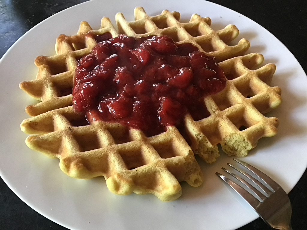 Delicious Waffles with Strawberry sauce